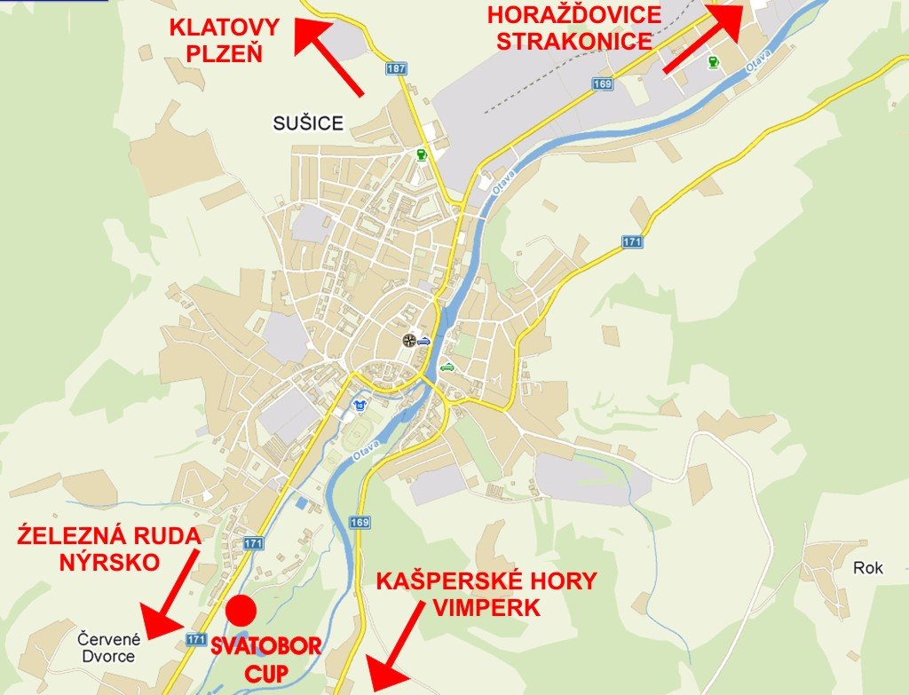 Mapa směru příjezdu
